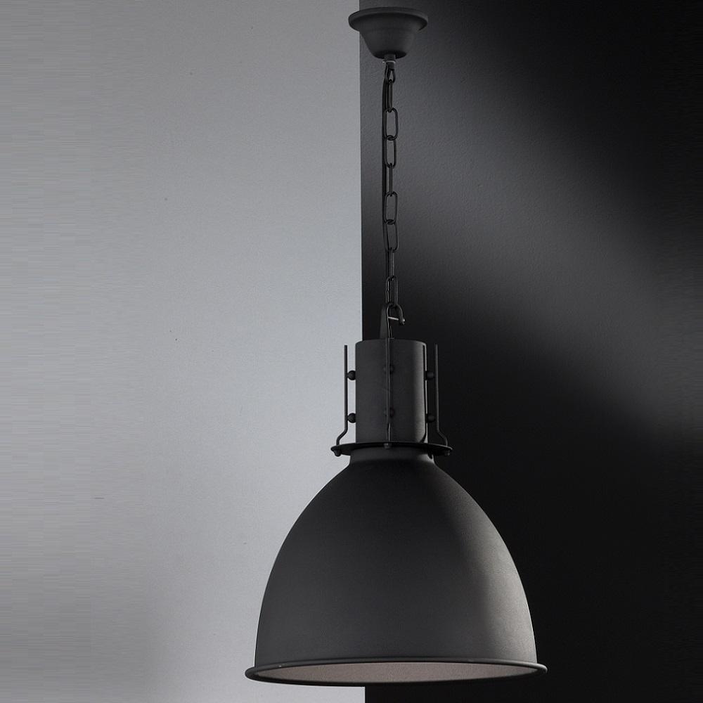 Pendelleuchteaus Metall, Industrial-Look, Fabrikleuchte, Oberfläsche matt, D=42cm, LED geeignet