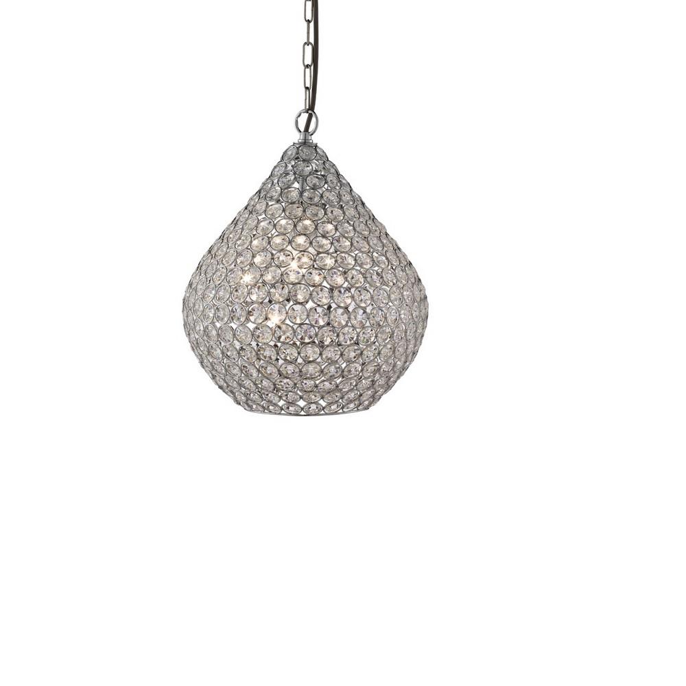 Pendelleuchte Chantilly aus Chrom und Kristallglas, 38 cm
