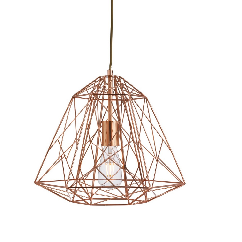 Pendelleuchte Geometric Cage aus Metall im Industrie Design in Kupfer