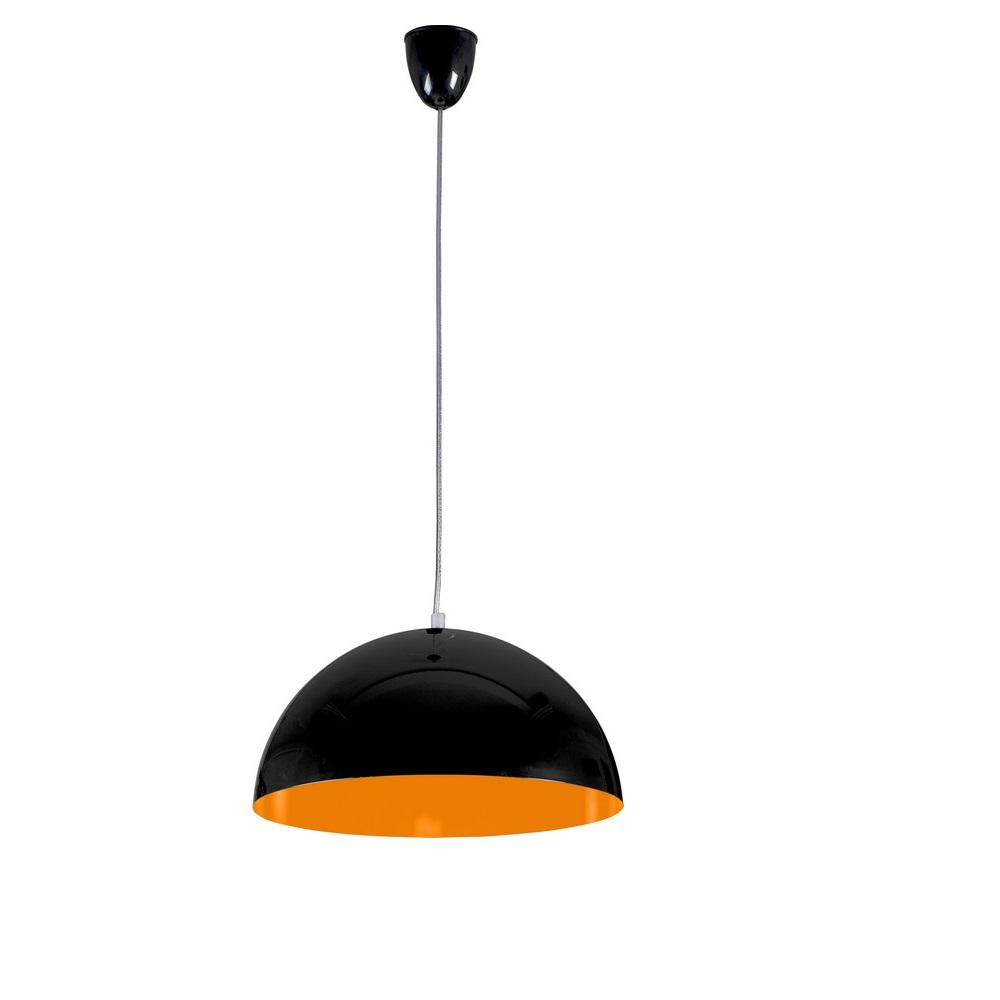 Pendelleuchte Hemisphere Fluo, 33,5 cm, Schwarz/orange