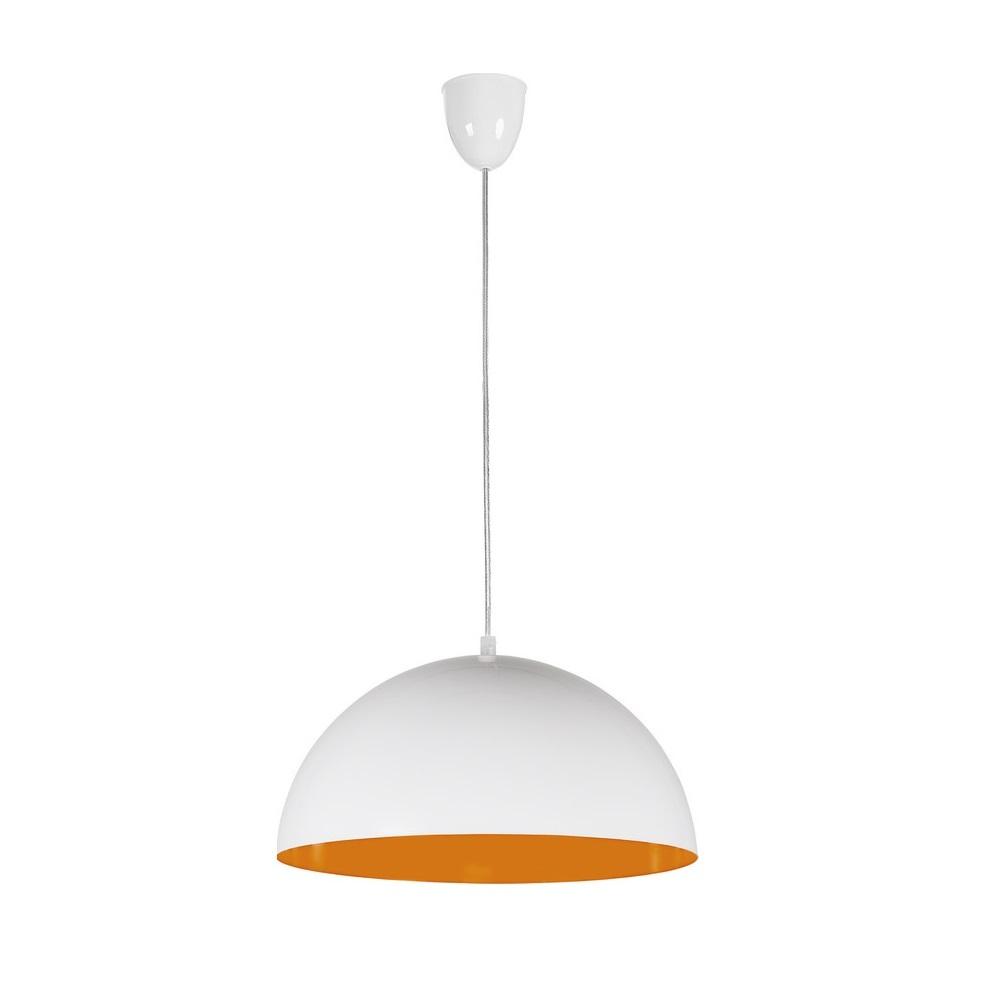 Pendelleuchte Hemisphere Fluo, 33,5 cm, Weiß/orange
