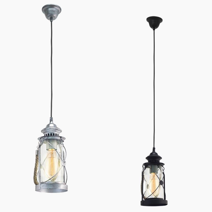 Pendelleuchte in Laternenform - Silber-Antik oder Schwarz