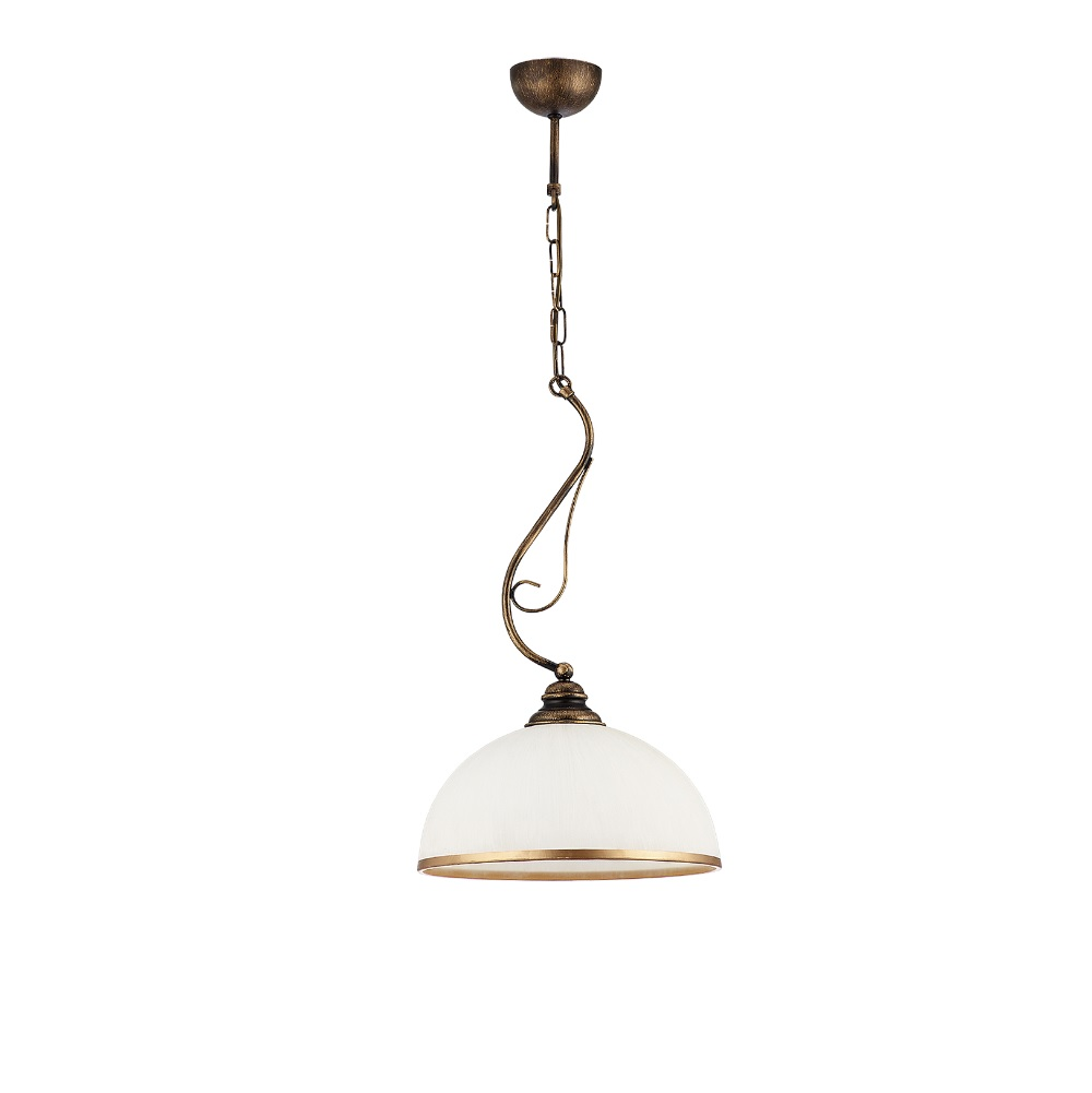 Pendelleuchte, 1flammig, Landhaus-Look, antik, Glas weiß, D 30 cm