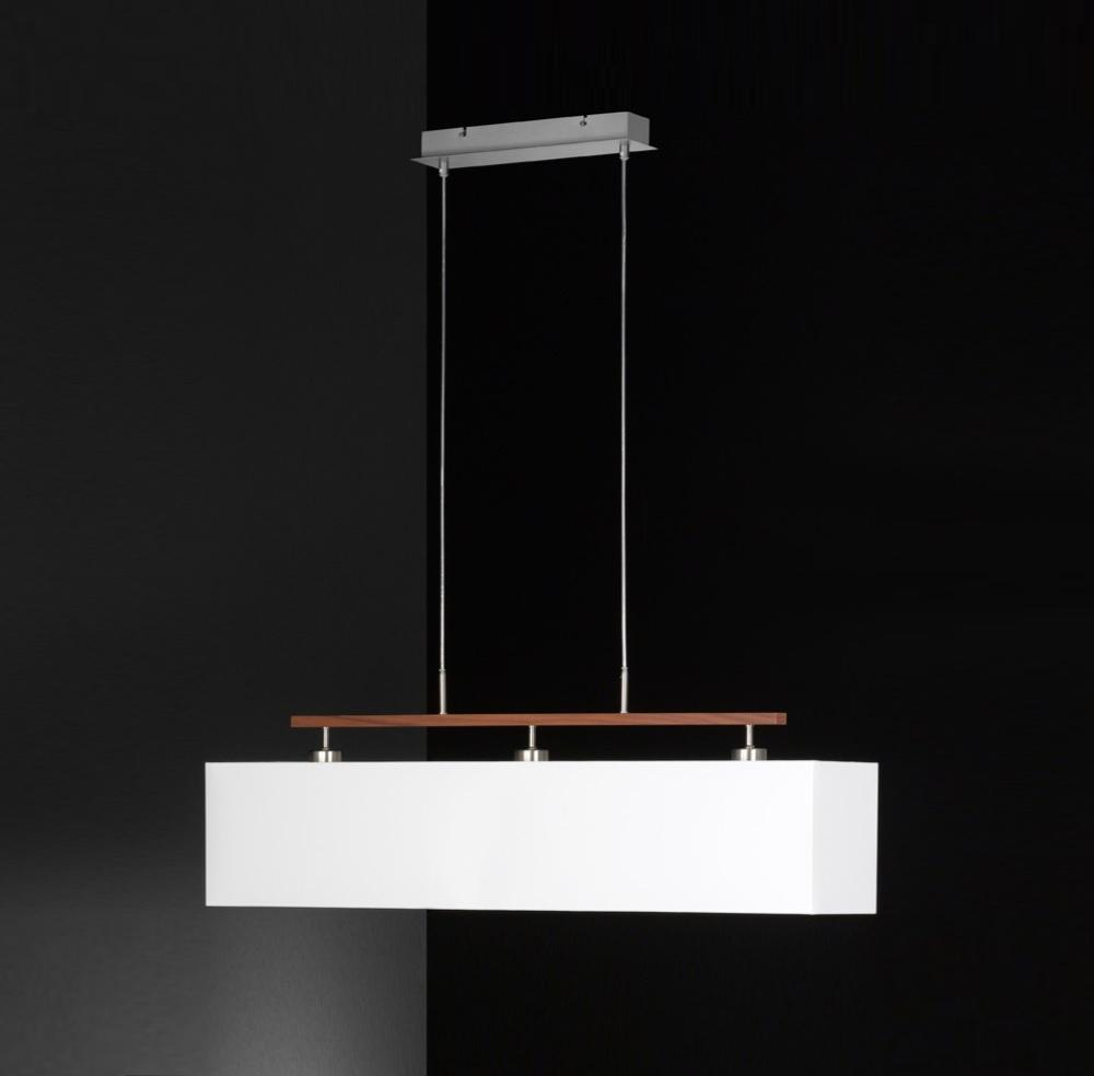 Pendelleuchte, Balken Holzdekor, Schirm rechteckig, weiß, 100cm lang