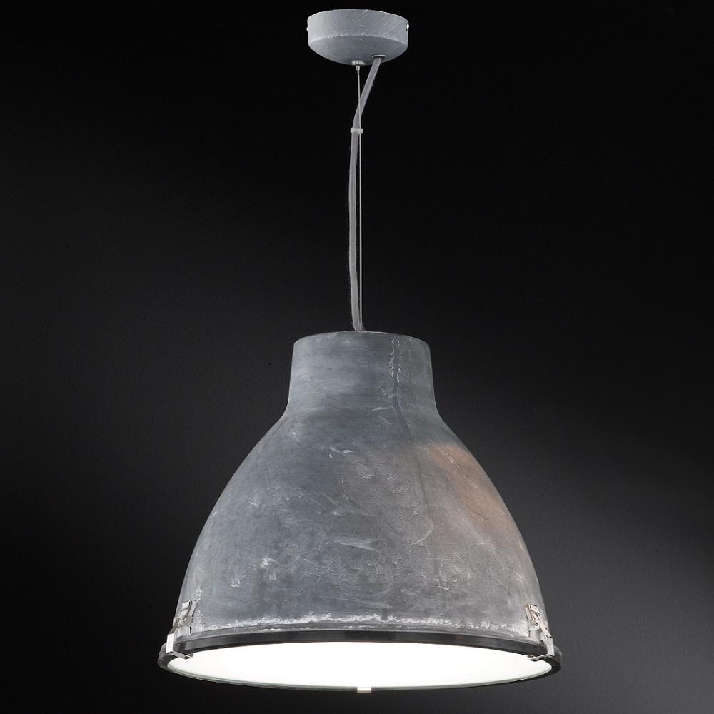 Pendelleuchte, Metallschirm Beton-Optik, Glas-Streuscheibe, D=42cm