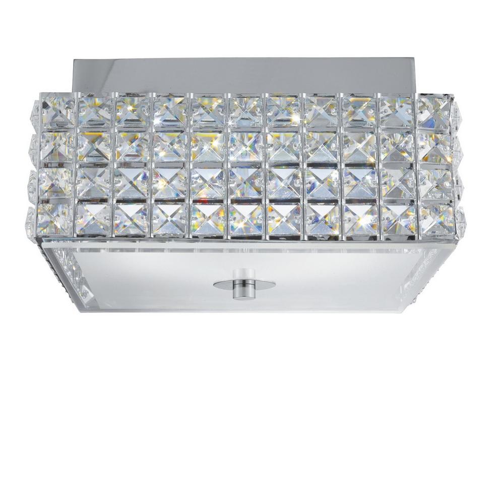 Quadratische LED Deckenleuchte Rados aus Chrom und Kristallglas