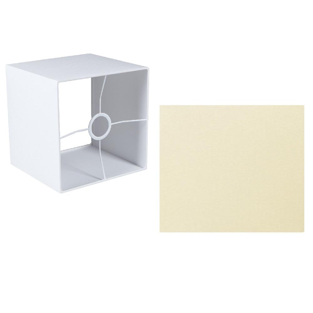 Quadratischer Lampenschirm E27 Fassung creme oder weiß