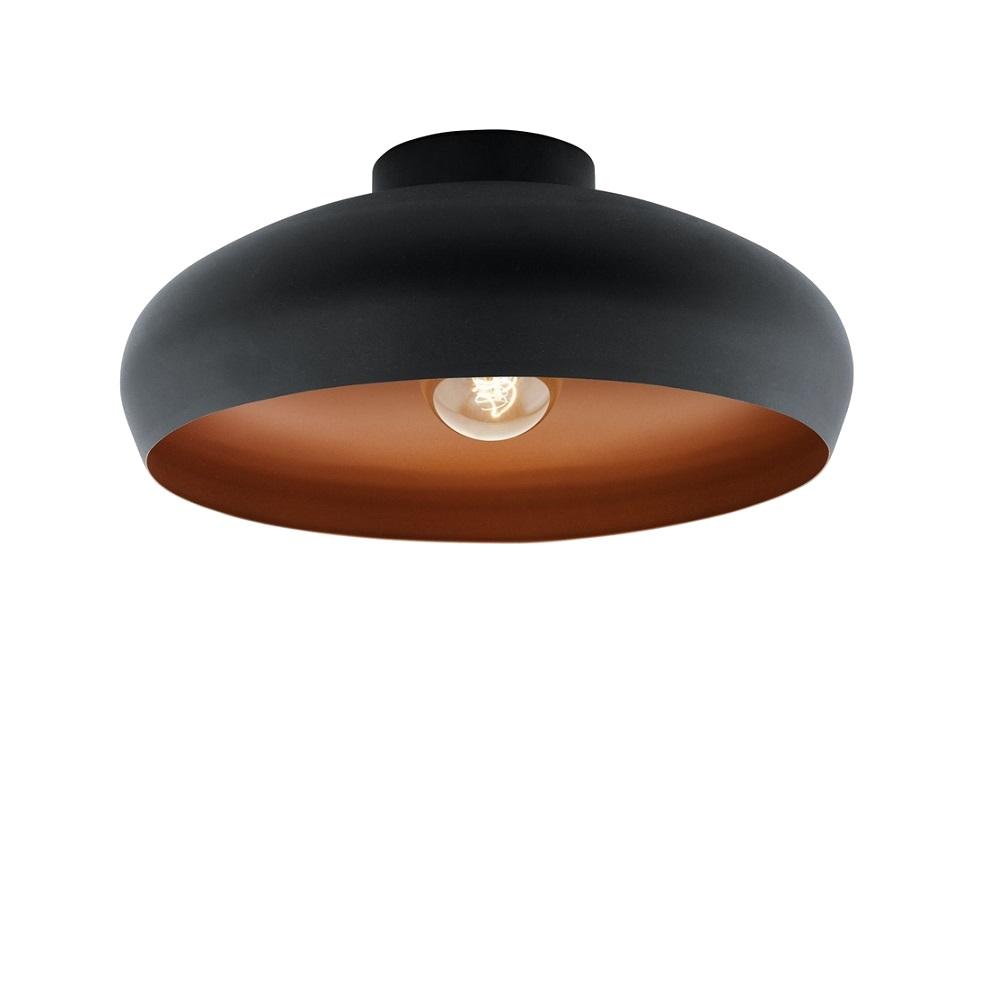 Runde Schwarze Deckenleuchte innen kupfer Ø 40cm inkl. E27 60W Glühlampe