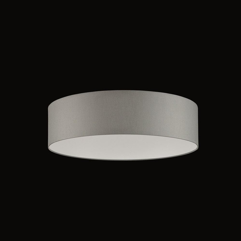 Runder Lampenschirm - Chintz Stoff grau, Textilschirm XL - blendfreier Difusor, Durchmesser 75 cm