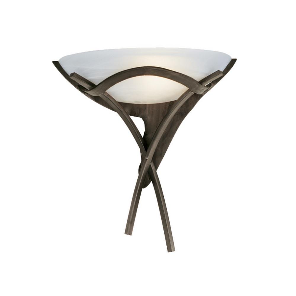 Rustikale Wandleuchte in Dunkelbraun mit Alabasterglas
