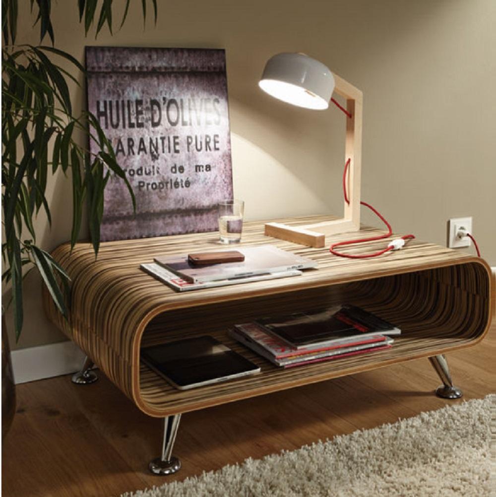 Schreibtischleuchte aus Holz mit schwarzem oder weißem Leuchtenschirm, Höhe 47cm