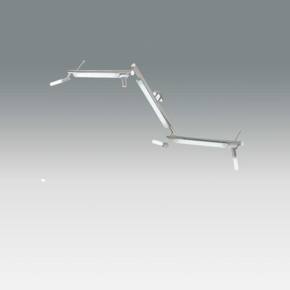 Schwenkbare Deckenleuchte Nickel-satiniert inklusive 4xE14 10W + 3xT5 13W IP20 mit, weißem Borsilicatglas