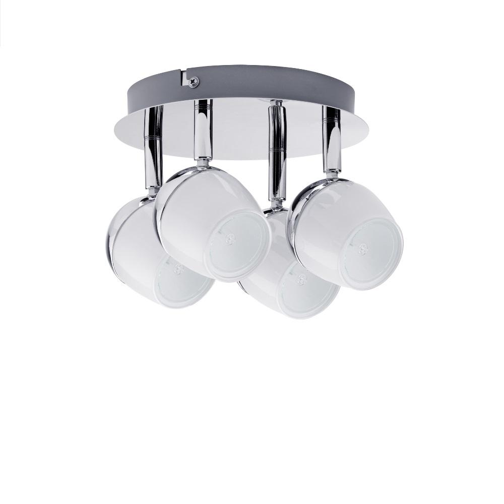 Schwenkbarer Deckenstrahler Halogen 4x40W, GZ10, Chrom/Weiß Komplett inklusive Leuchtmittel