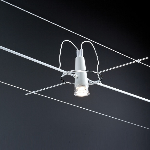 Paulmann Seilsystem LED-Komplett-Set in Weiß, Länge maximal 7 m - 4 dekorative LED-Spots 940.99 | Lampen > Strahler und Systeme > Seilsysteme | Paulmann
