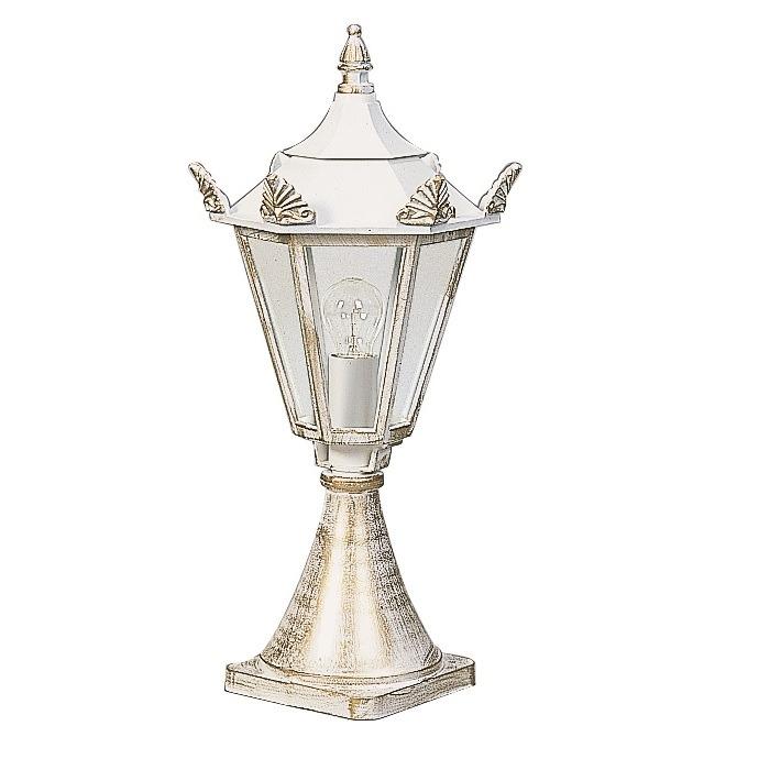 Albert Sockelleuchte in weiß-gold, Höhe 60cm gold/weiß 670533 | Lampen > Aussenlampen > Sockelleuchten | Schwarz - Weiß | Albert