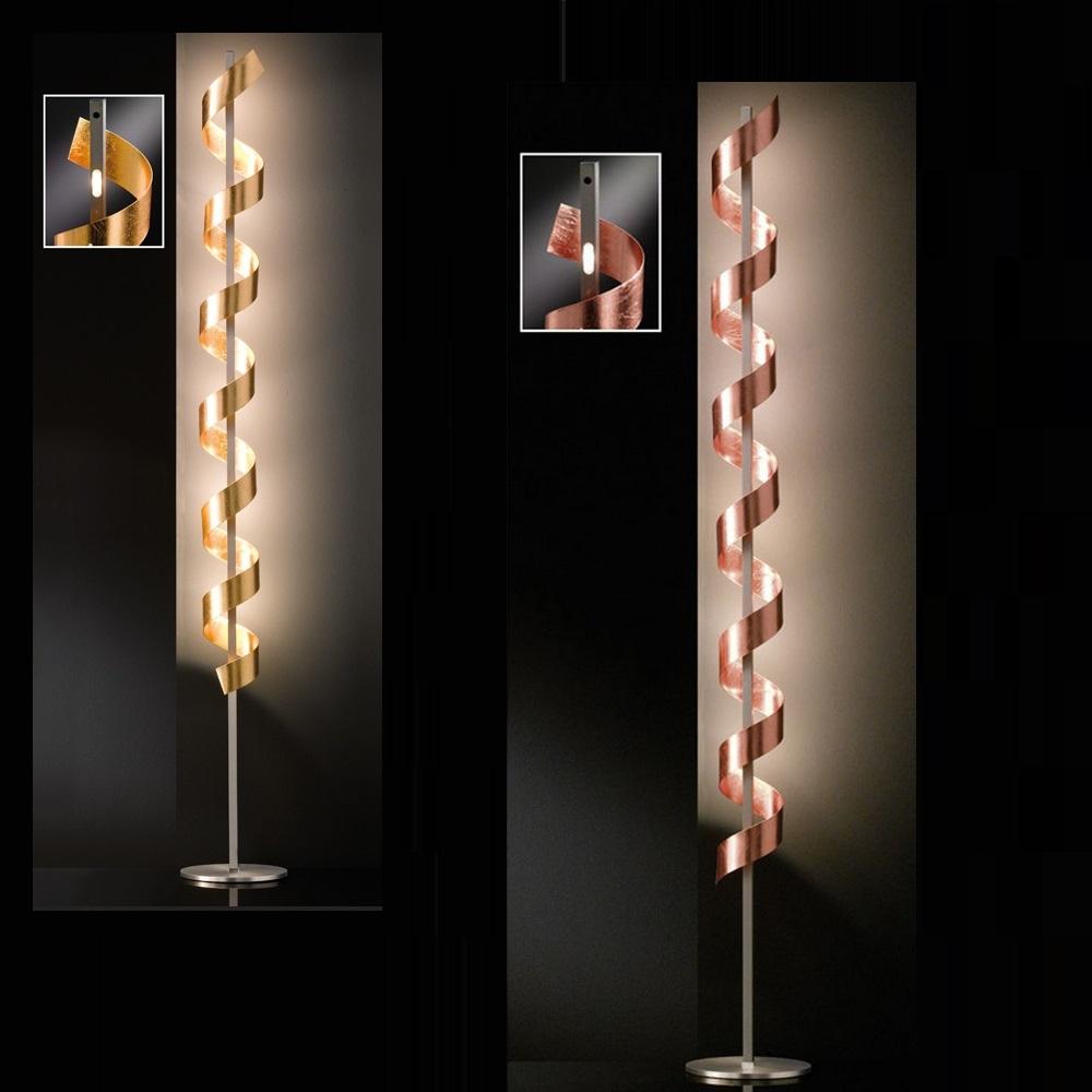Spirale LED-Stehleuchte, gold oder kupfer