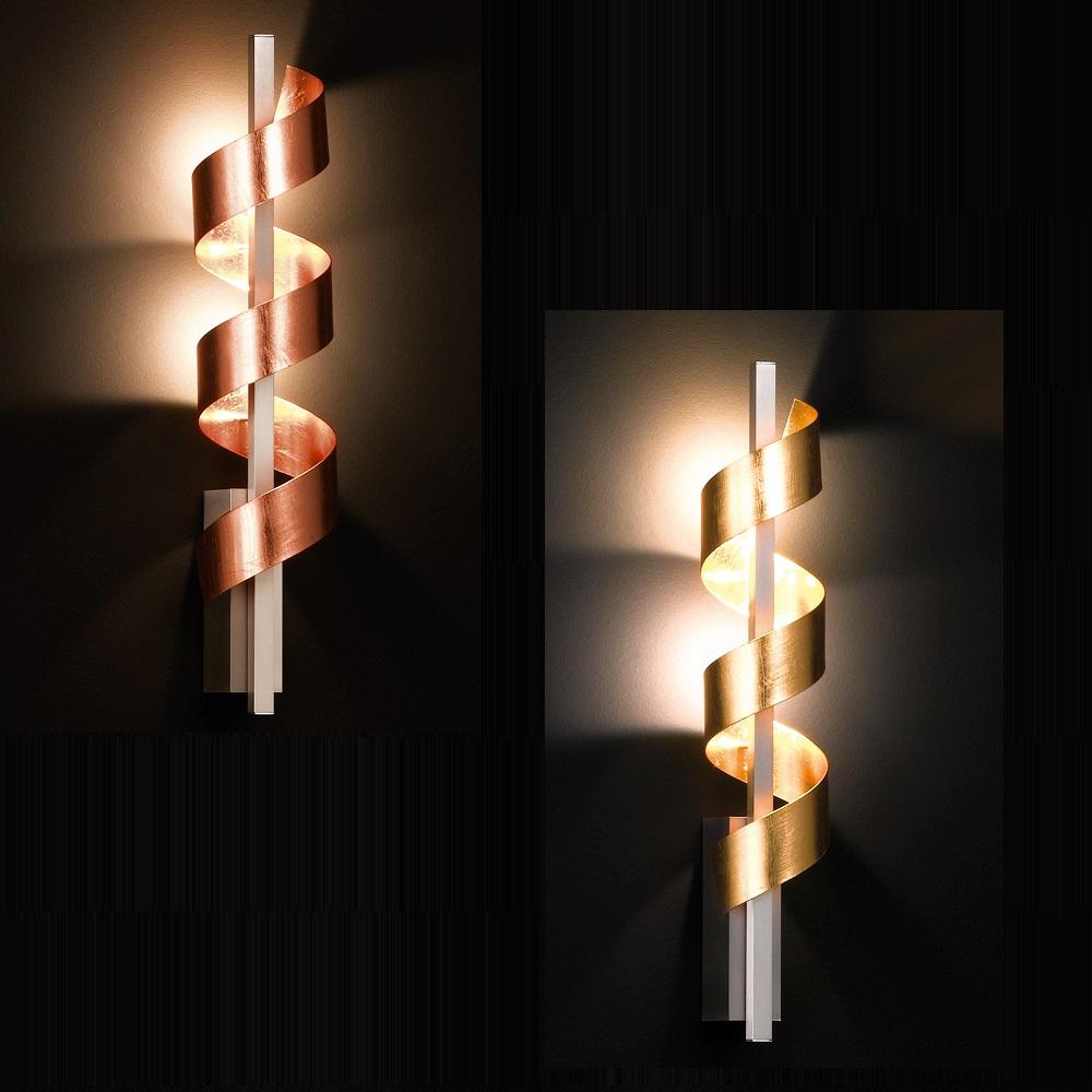 Spirale LED-Wandleuchte, gold oder kupfer