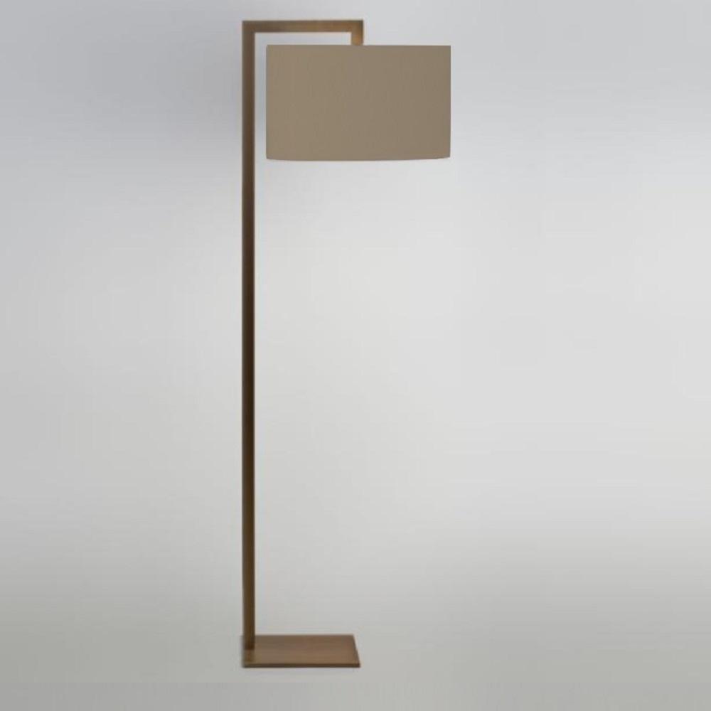Elegant Stehleuchte Mit Stoffschirm Ideen Von Lhg Eckig Altmessing-bronze, Hellgrau Ravello Hellgrau 92262