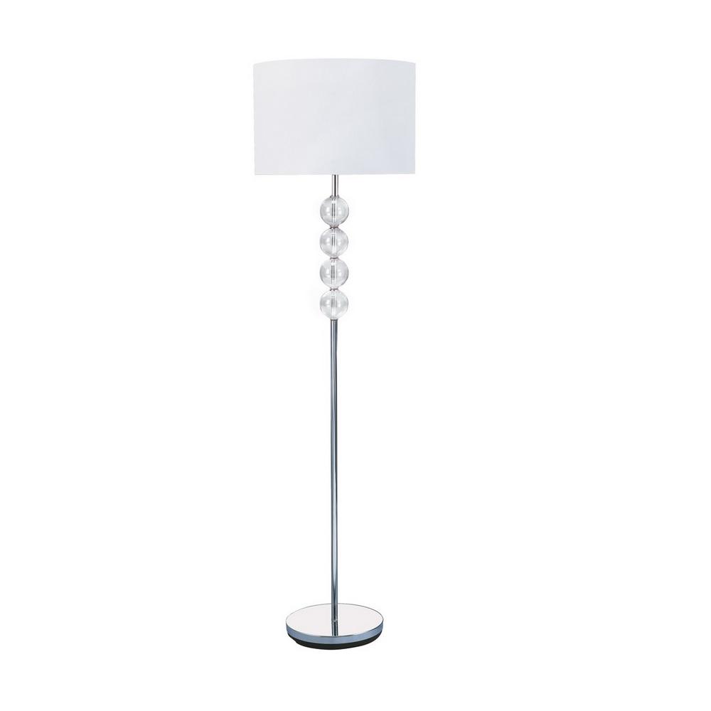 Stehleuchte mit klarem Glasschmuck und Stofflampenschirm