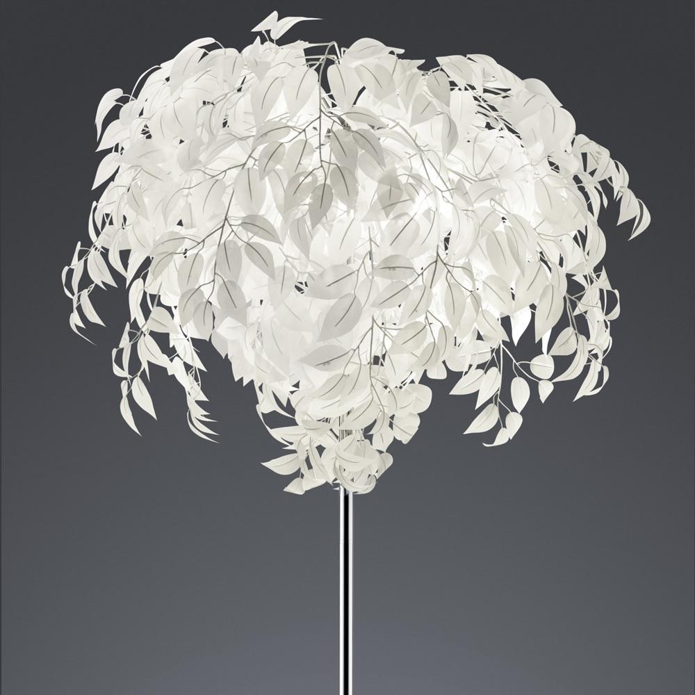 Stehleuchte mit schmuckvollen Blättern weiß, Ø 70 cm