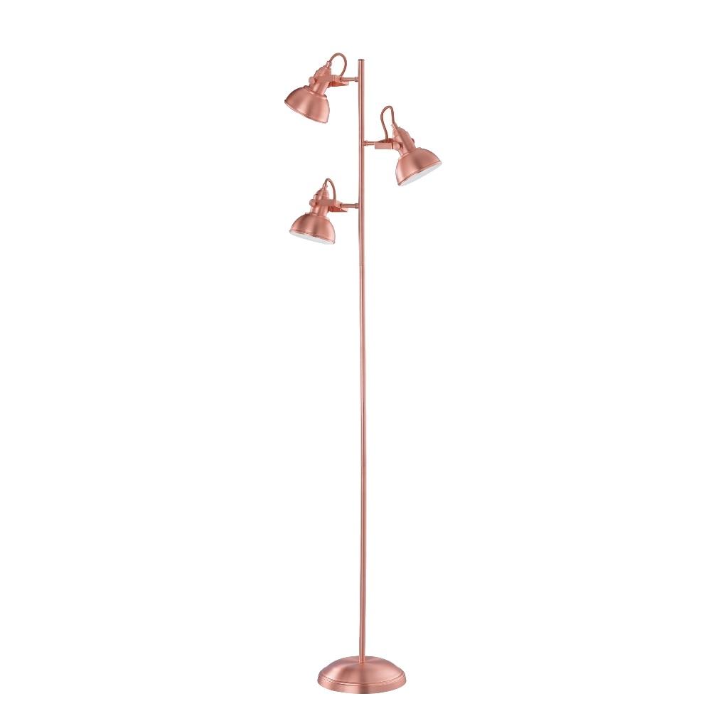 Stehleuchte, Metall, Kupferfarbig, Schwenkbar, 3 flammig, H= 150cm