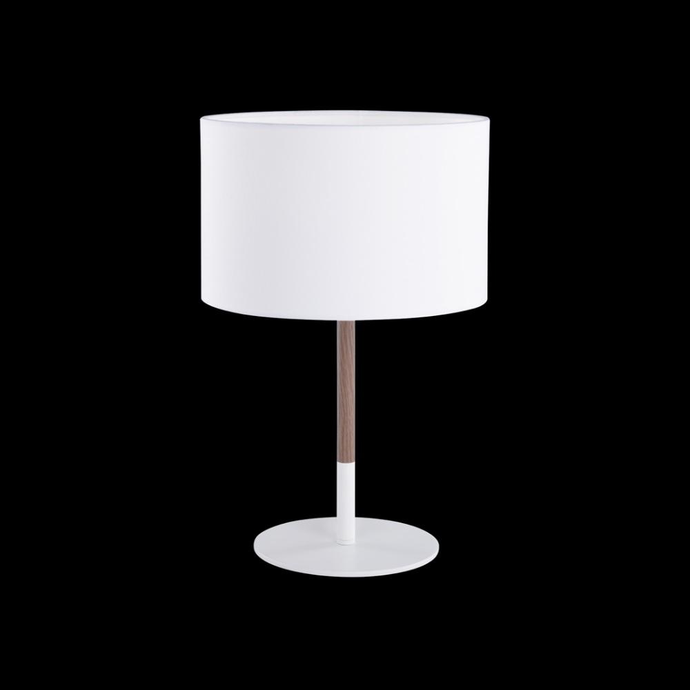 Tischleuchte Aarhus, Materialmix Holz / Metall, Fassung E27 für wechselbares LED Leuchtmittel, mit Textischirm Stoffschirm weiß