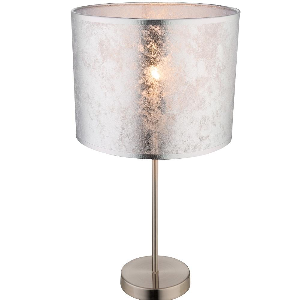 Tischleuchte Amy I mit Stoffschirm in silber metallic