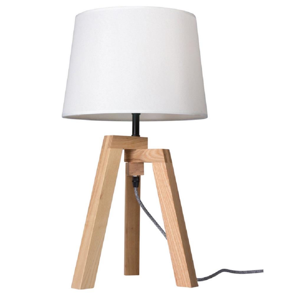 Tischleuchte aus Holz, TRIPOD Holzgestell Birke weißer Stoffschirm / Textilschirm, E27 60 Watt max.