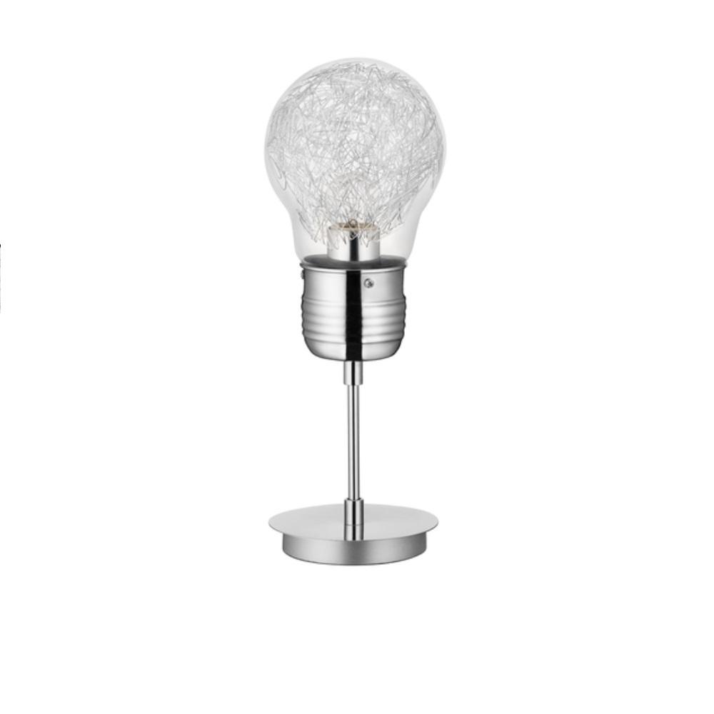 Tischleuchte Bulb Glühbirne mit Drahtfäden in Chrom