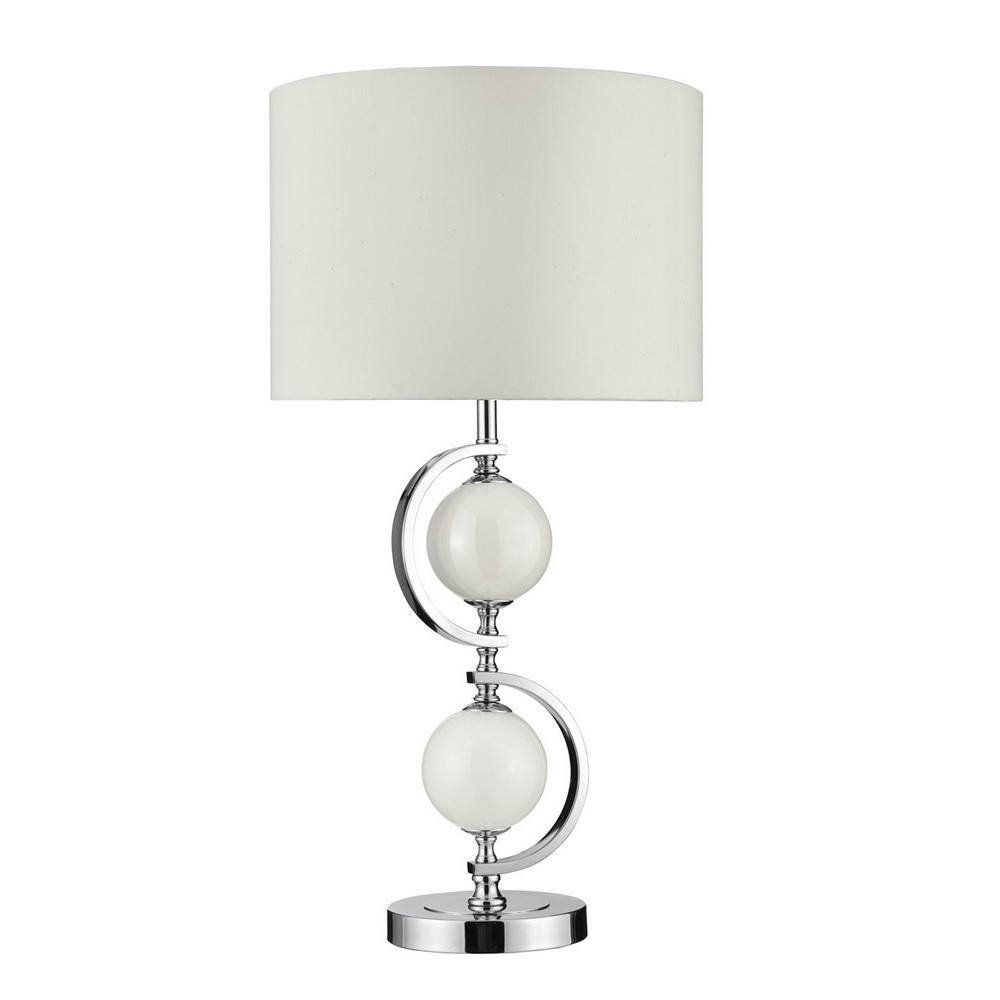 Tischleuchte mit Glasschmuck und Stofflampenschirm