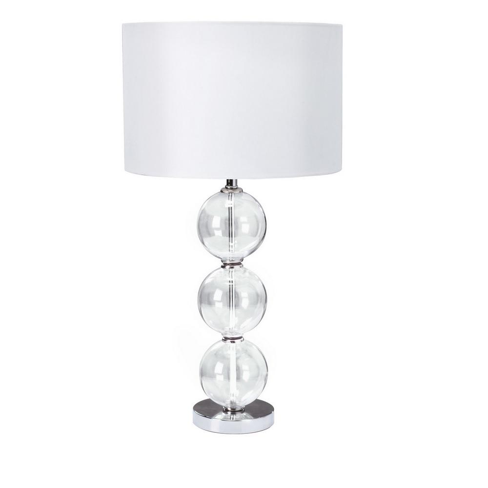 Tischleuchte mit klarem Glasschmuck und Stofflampenschirm