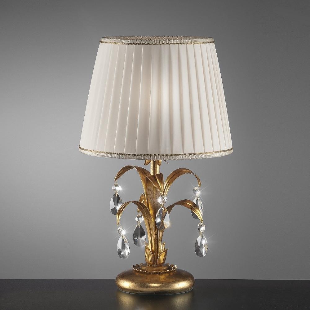 Tischleuchte mit Kristallbehang - Blattgold - Stofflampenschirm