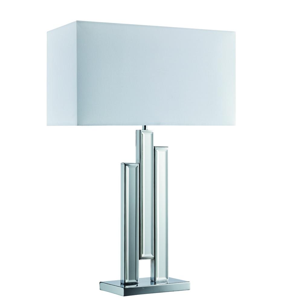 Tischleuchte mit Lampenfuß aus Spiegelglas und Stoffschirm