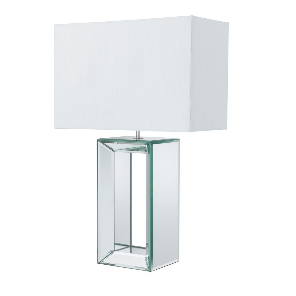 Tischleuchte mit Spiegelglas und Stoffschirm in 2 Farben