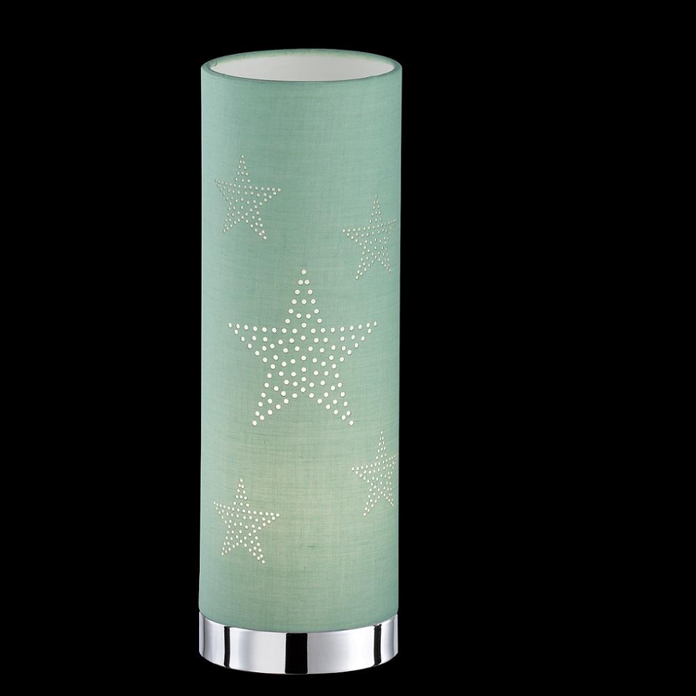 Tischleuchte Stella Schirm hellgrün mit Sterndekor