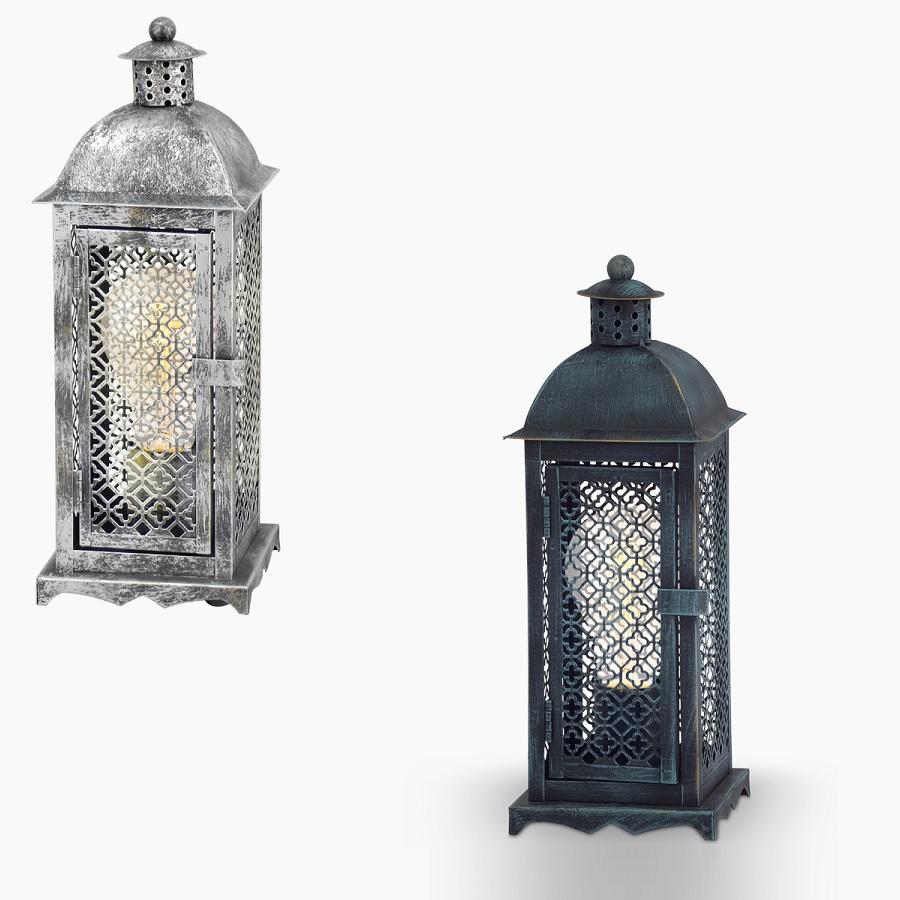 Tischleuchte im Vintage-Stil - Laternenform - Metall - Kuper-braun-Patina oder Silber-Antik  - Für Leuchtmittel E27