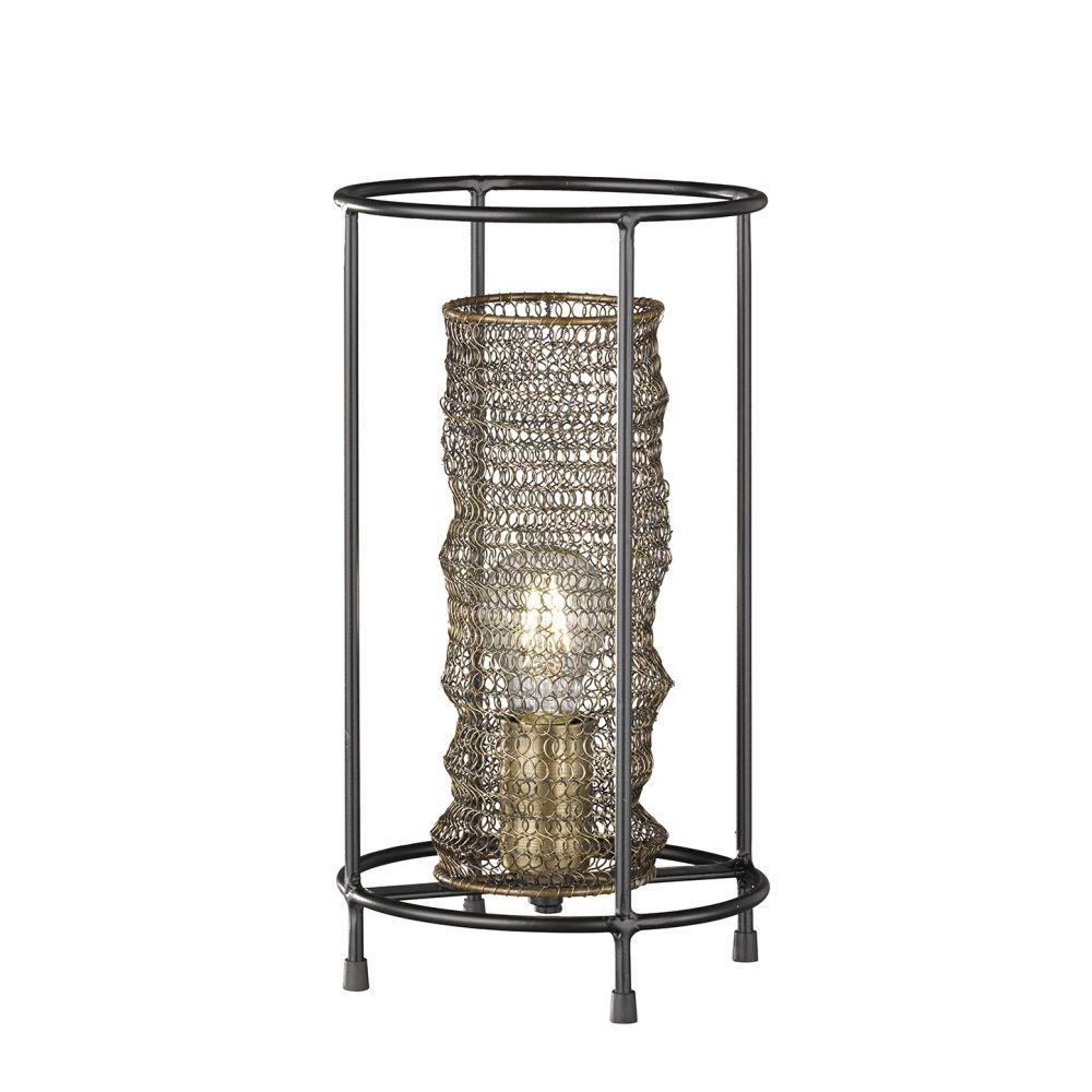 Tischleuchte, 1-flammig, E27, Käfigleuchte, schwarz, mit Schnurschalter, Geflecht, rustikal