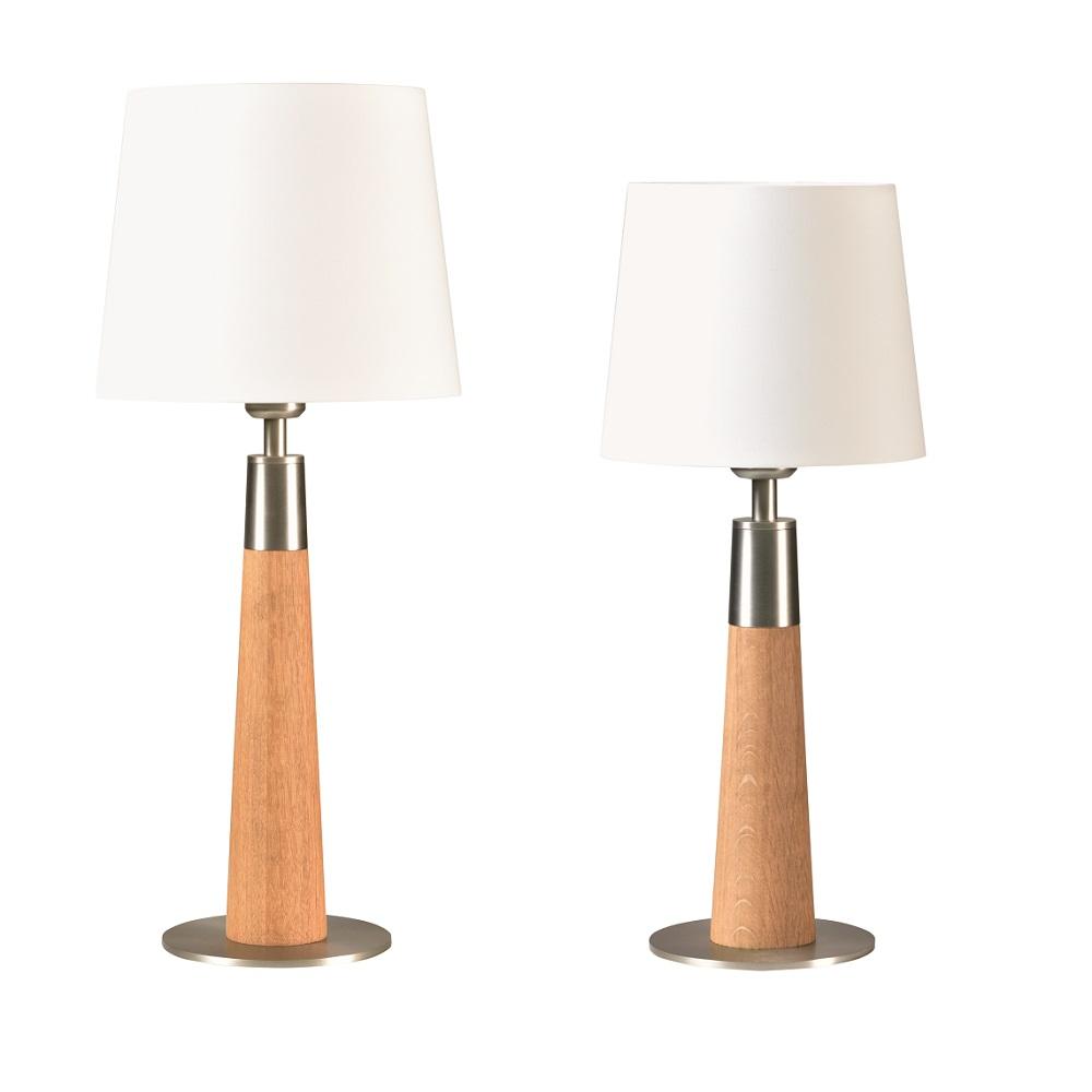 Tischleuchte, Cotton Schirm, weiß, Massivholz, Eiche, H= 47 o. 59cm