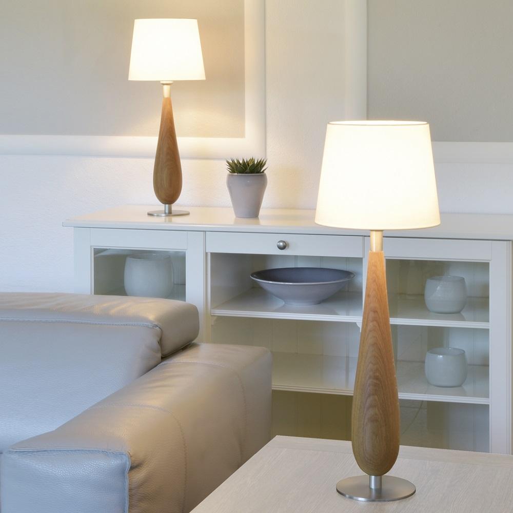 Tischleuchte, Cotton Schirm, weiß, Massivholz, Eiche, H= 61 o. 74cm
