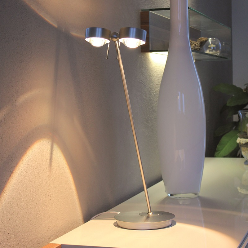 Top Light Tischlampe Puk Table Twin in Chrom, 80 cm Armlänge