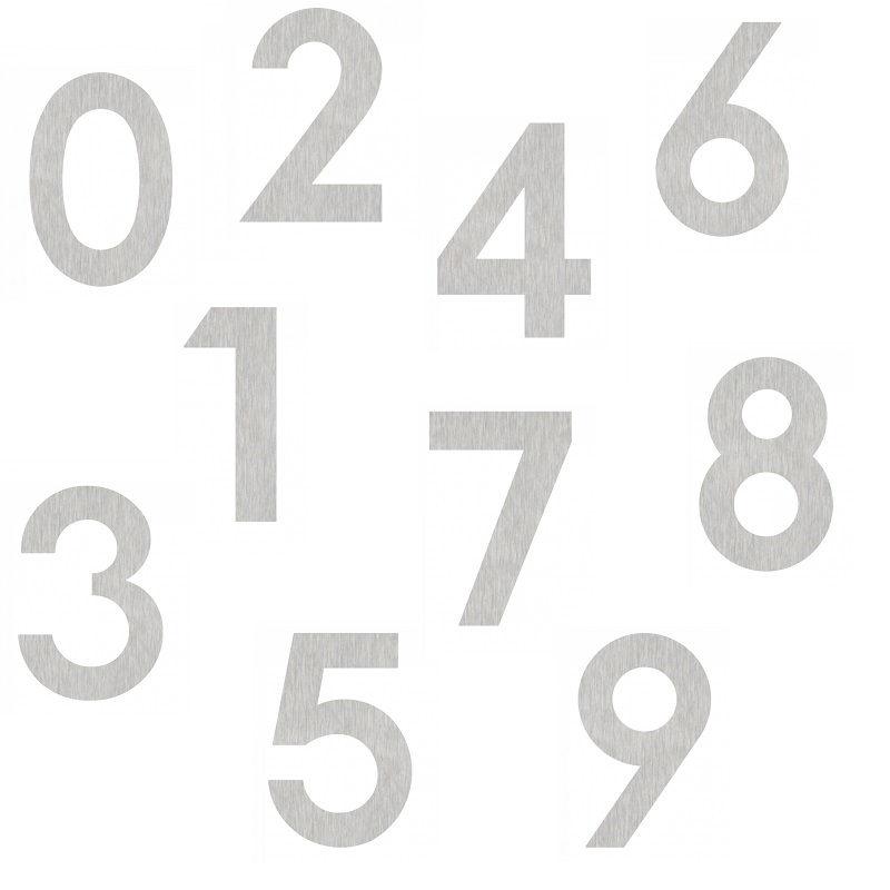 Heibi Hausnummer aus geschliffenem Edelstahl zum Kleben, Höhe 12cm, Nummer 4 Midi Hausnummer 4 64584-072 | Lampen > Aussenlampen > Hausnummern | Heibi