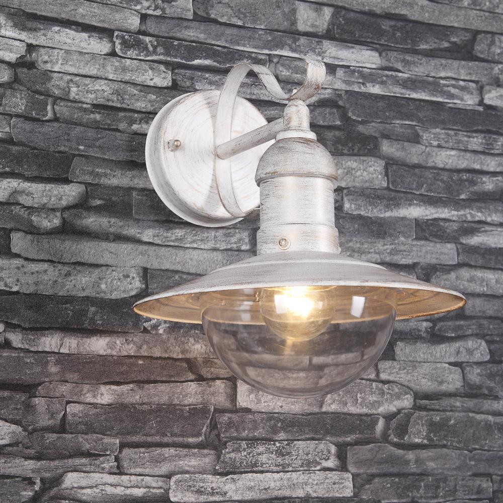LHG Wandleuchte Außem, rustikal, Weiß-Gold, E27 LED einsetzbar