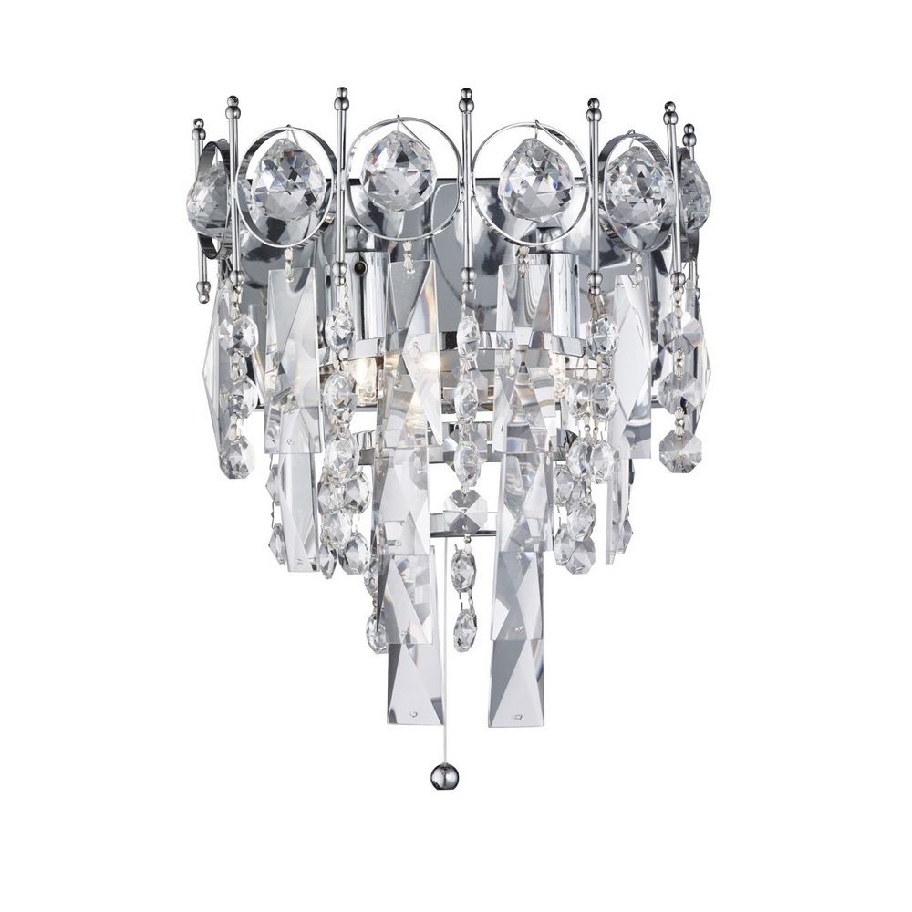 Wandleuchte Catherine aus Chrom und Kristallglas 2-flammig