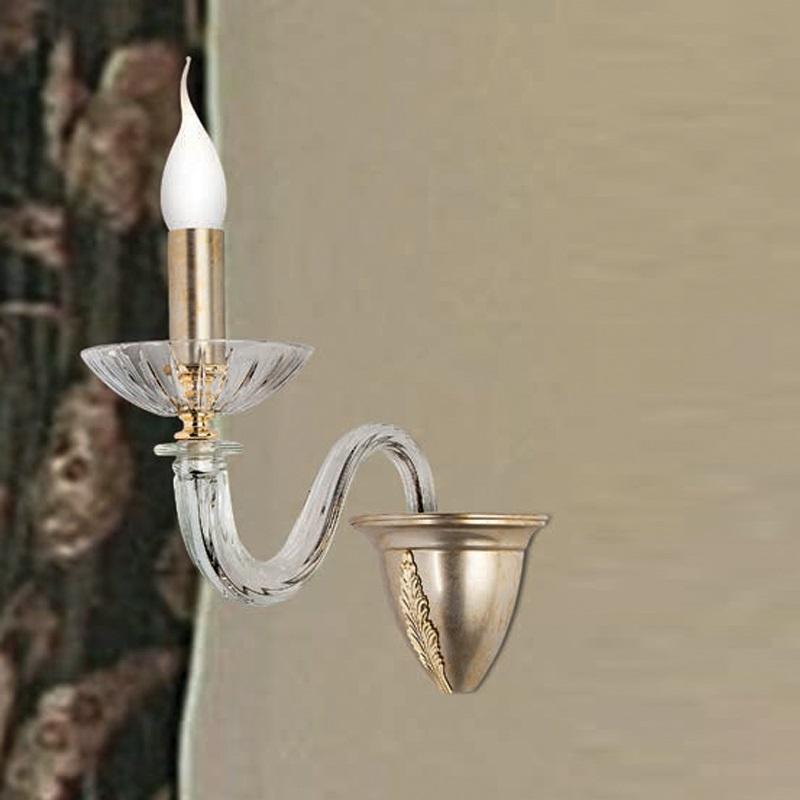 Wandleuchte 1- oder 2-flammig - 2 Oberflächen - Mit 24 Karat Gold