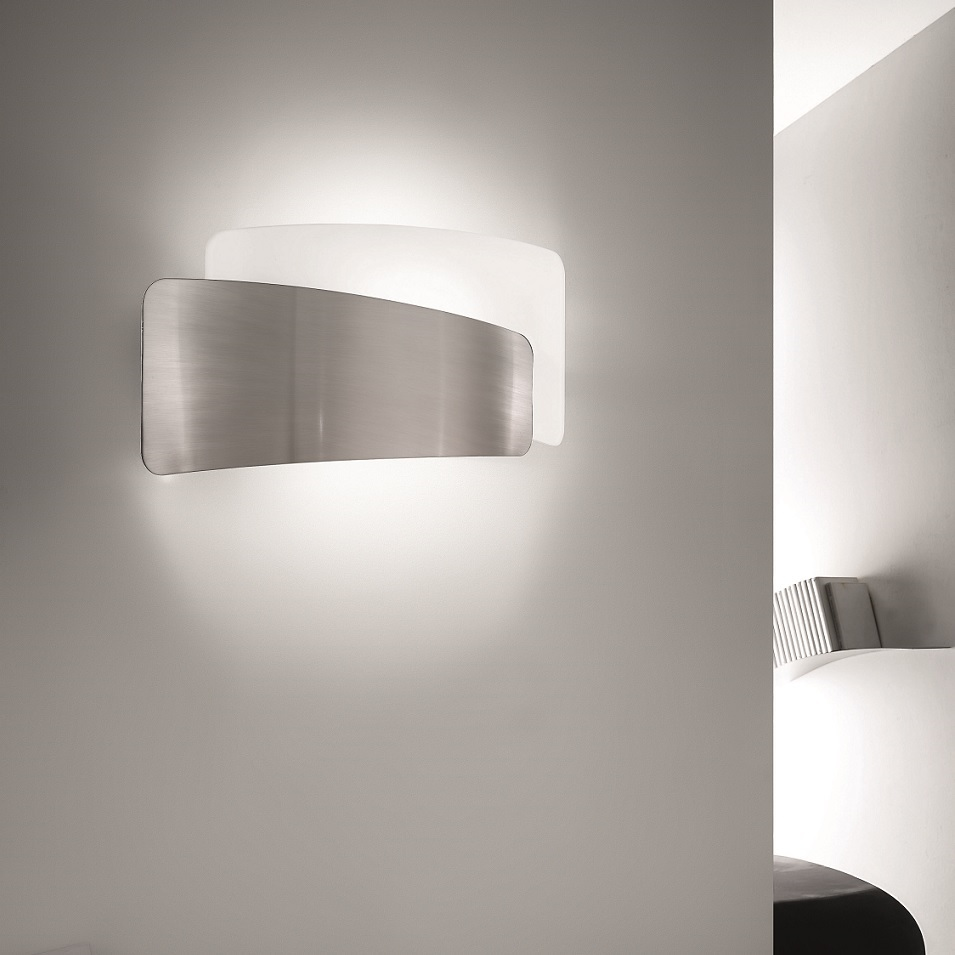 Wandleuchte, flach, Nickel, Glas weiß, Up&Down, E27 Fassung für LED