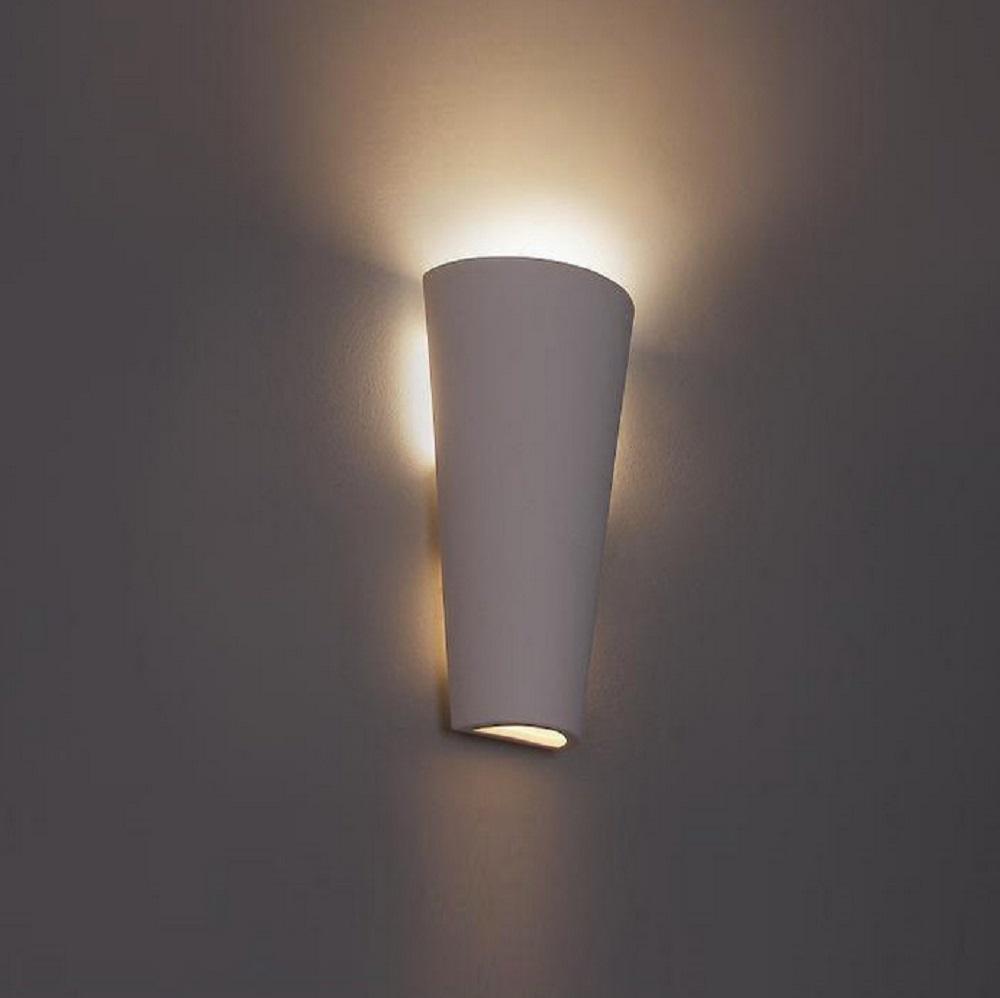 Wandleuchte, Gips, Weiß, anstreichbar, indirekte Beleuchtung