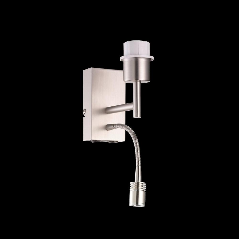 Wandleuchte, LED-Lesearm, Nickel-matt, Schirme kombinierbar, Schalter