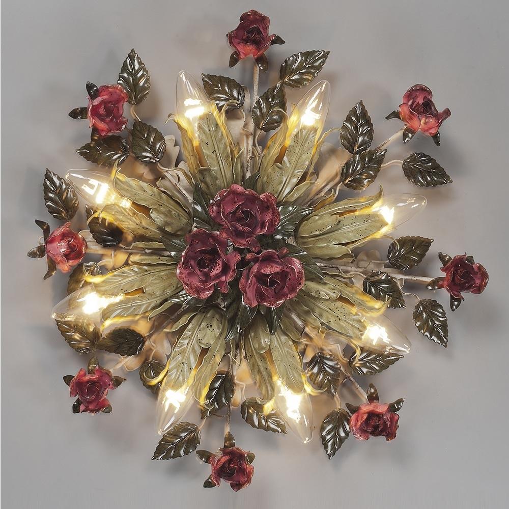 Wunderschöne Deckenleuchte - Handarbeit aus Italien -  8- oder 3-flammig  - Rosendekor