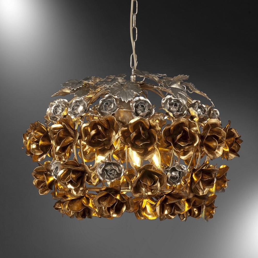 Wunderschöne Pendelleuchte - Handarbeit aus Italien - Rosendekor - Blattgold und -silber