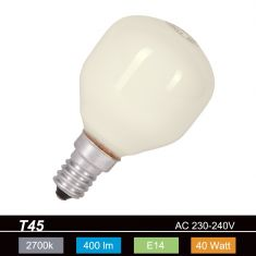 10-er Set Glühlampe D45 Tropfen opal weiß  40W  E14 Leuchtmittel